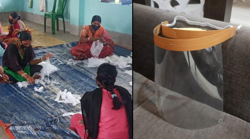 Some woman of Purulia district makes face shields