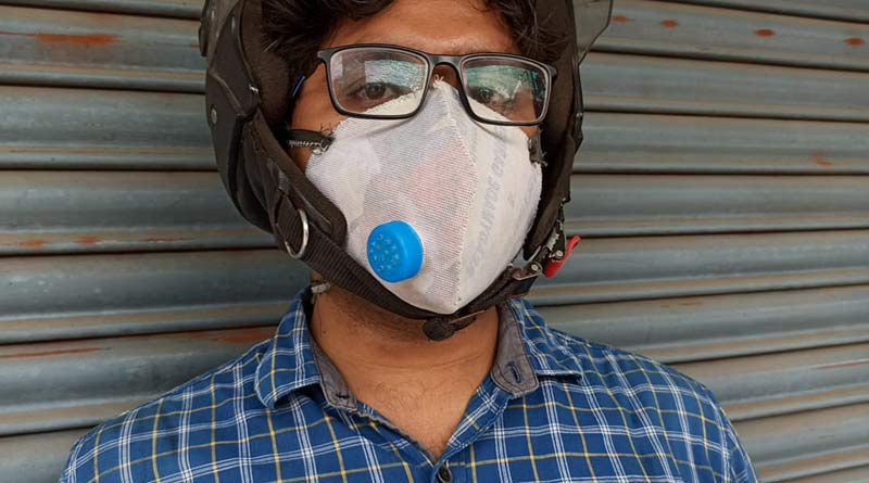 A youth in Balurghat makes masks like N95 by own