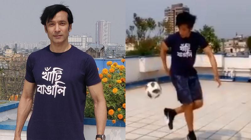 Tota Roy Chowdhuti plays football during lockdown