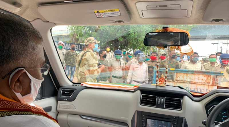 Dilip Ghosh stopped near Garia by police on the way to visit Amphan effected areas