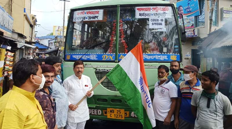 Employees starts COVID Special bus service from Bongaon-Babughat with half salary