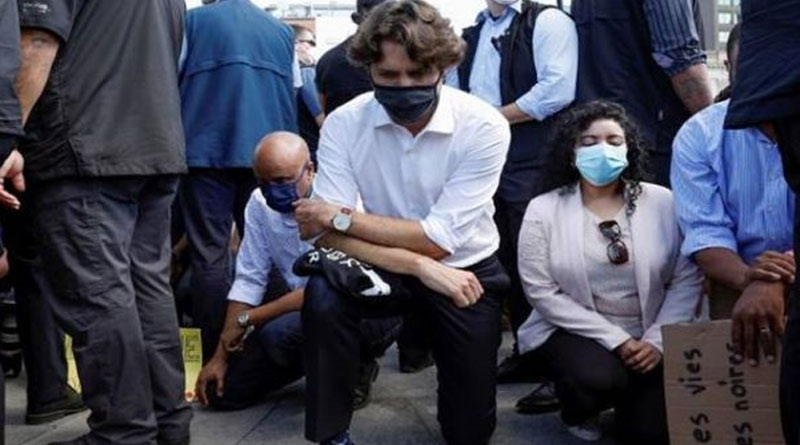 Canada PM Justin Trudeau attended anti-racism rally and knelt on the street
