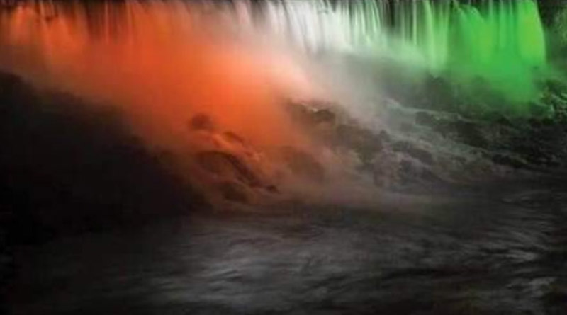 Tri-colour at Niagara Falls to commemorate Indian Independence Day