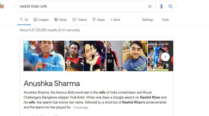 Google search shows Afghan cricketer Rashid Khan's wife is Anushka Sharma, Here is Why