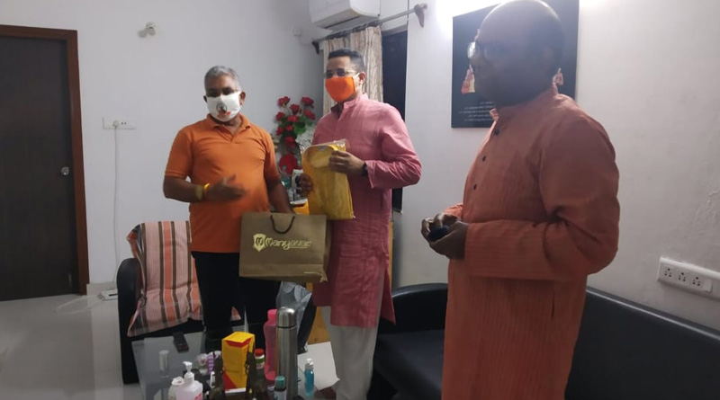 West Bengal BJYM chief Saumitra Khan meets state BJP president Dilip Ghosh