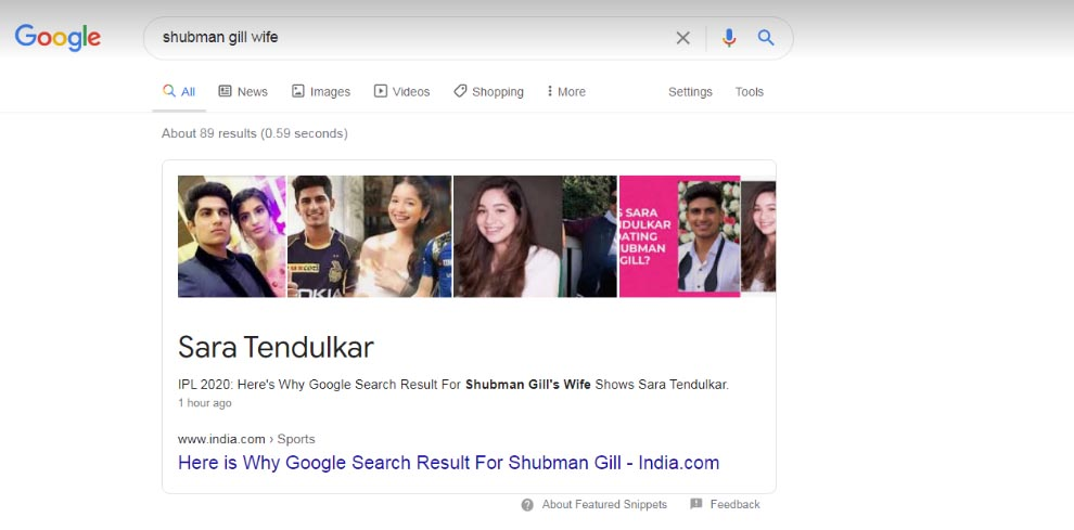 Why is Google search showing Shubman Gill's wife as Sara Tendulkar?