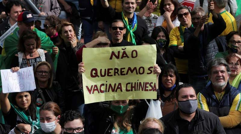 Protests in Sao Paulo, Brazil against Chinese covid vaccineProtests in Sao Paulo, Brazil against Chinese covid vaccine| Sangbad Pratidin