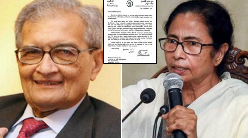 Mamata Banerjee writes letter to Nobel laureate Amartya Sen to oppose Vishva Bharati's apporoach towards him | Sangbad Pratidin