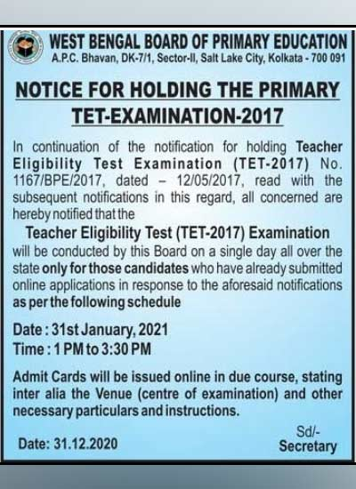 Notice of primary tet issued