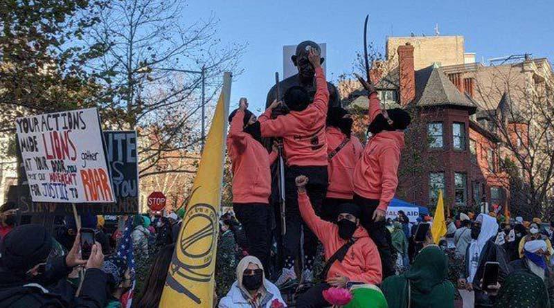 Farmers Protest: Mahatma Gandhi's statue in Washington DC defaced, draped with Khalistani flag