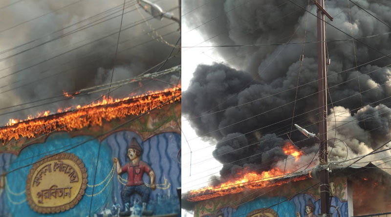 Massive fire at a park of Kalna Municipality, fire tenders face problem to control the situation| Sangbad Pratidin
