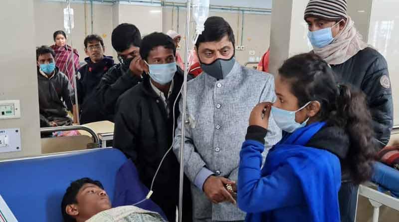 Alipurduar MLA Sourav Chakraborty met the injured