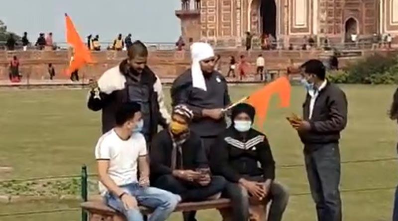 Saffron flag waived in premises of Taj Mahal, video goes viral   Sangbad Pratidin