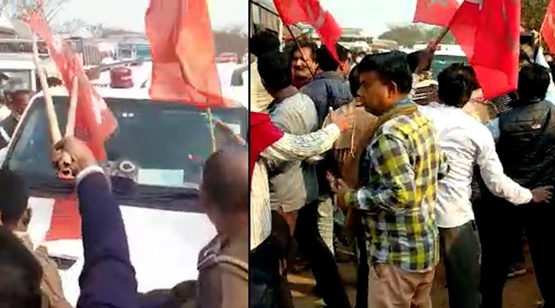 Attack on car of minister Swapan Debnath at Burdwan, left members are accussed |SangbadPratidin