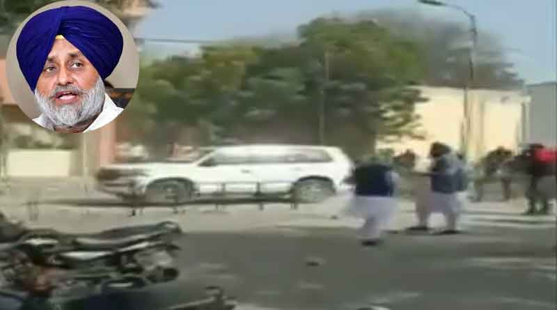 Sukhbir Badal's vehicle attacked by 'Congress goons' in Jalalabad | Sangbad Pratidin