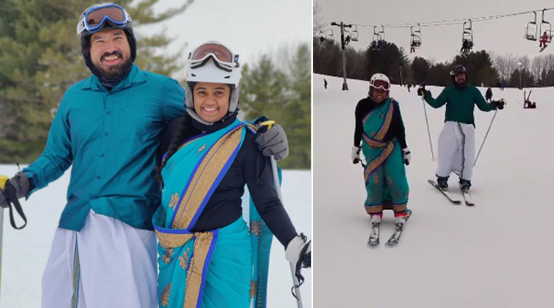 US: Video of couple skiing in saree and dhoti goes viral | Sangbad Pratidin