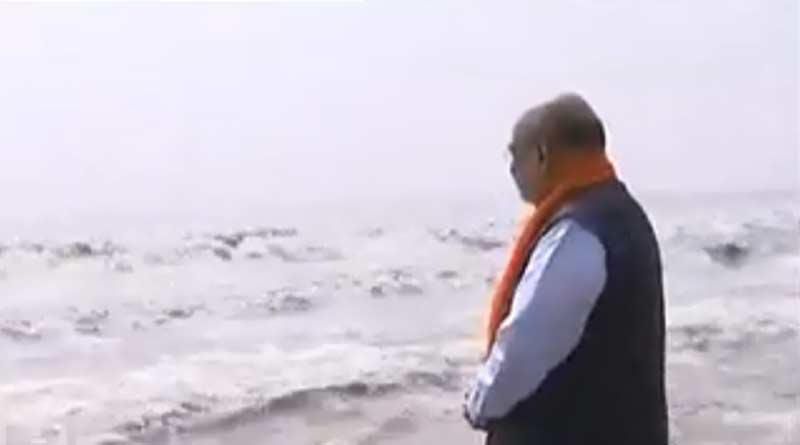 The Home Minister is offering pujo at Kapilmuni's ashram