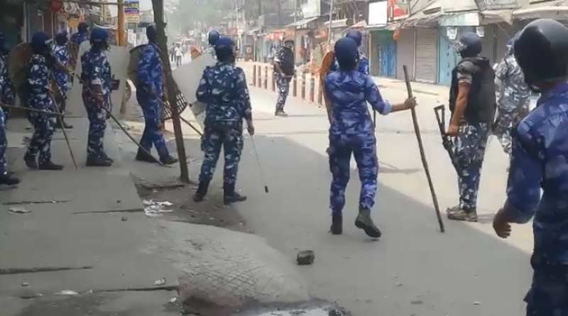 West Bengal Assembly Elections : clash broke out between police and BJP worker in Dinhata | Sangbad Pratidin