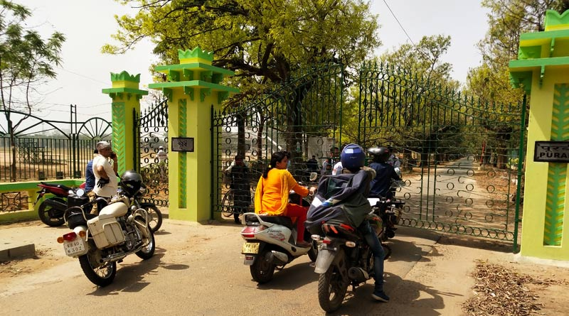 Protest of local people outside Visva-Bharati University campus over road closure | Sangbad Pratidin