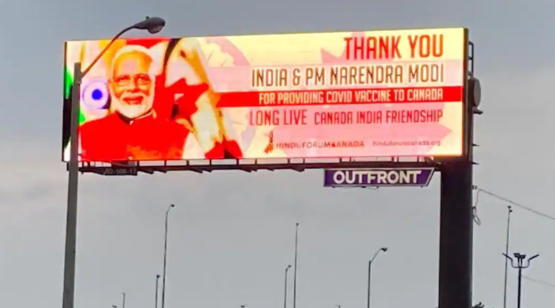 Canada Thanks PM Narendra Modi for COVID-19 Vaccines by Putting up his Billboards in Greater Toronto | Sangbad Pratidin