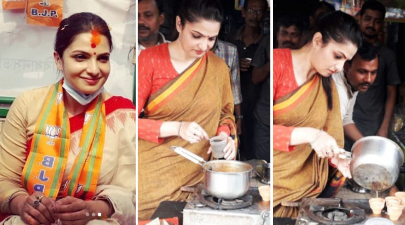 BJP candidate Tanusree Chakraborty is preparing tea in Howrah | Sangbad Pratidin