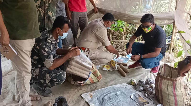 Bengal Polls 2021 : Bomb recovered from South 24 Parganas Bhangar | Sangbad Pratidin