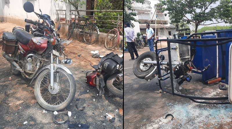 TMC party office attacked during meeting at Amodpur, Birbhum, BJP accussed  Sangbad Pratidin