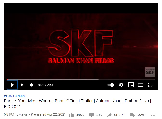 Youtube screenshot of Radhe trailer
