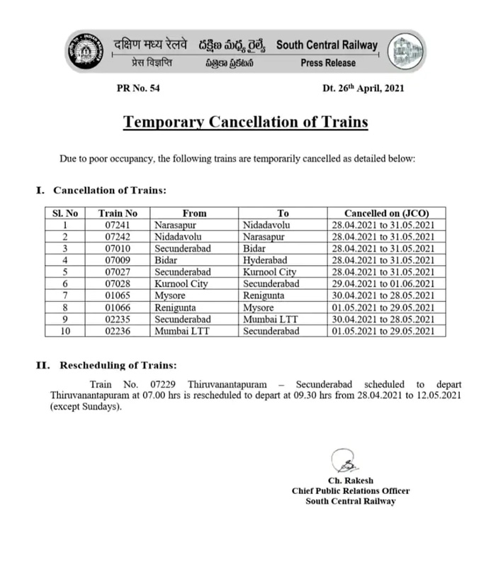 Railways to cancel over 40 trains amid COVID-19 situation