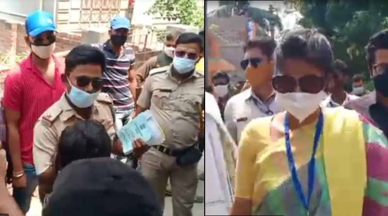 WB Election 2021: Heated argument between TMC Candidate Saayoni Ghosh and WB police ASI | Sangbad Pratidin