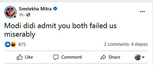 Sreelekha Mitra slams PM Narendra Modi and CM Mamata Banerjee on Facebook