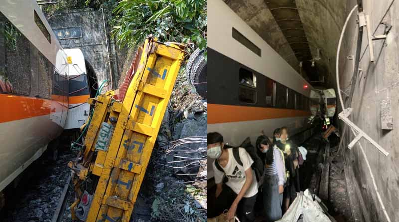 At least 36 people are feared dead after a packed train derailed inside a tunnel in eastern Taiwan । Sangbad Pratidin