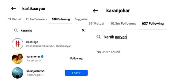 karan johar unfollows kartik aaryan on instagram