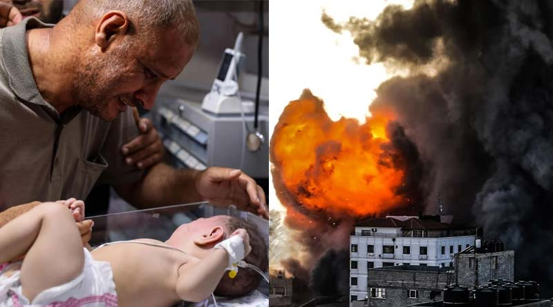 Bereaved Gaza father clutches wounded baby boy says have no one left in world  Sangbad Pratidin