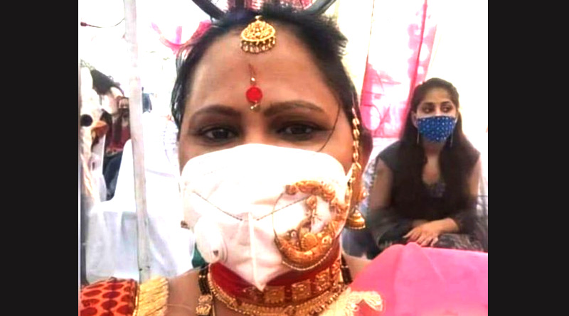 Jewellery Jugaad: Picture of woman wearing nose ring over face mask at wedding goes viral | Sangbad Pratidin