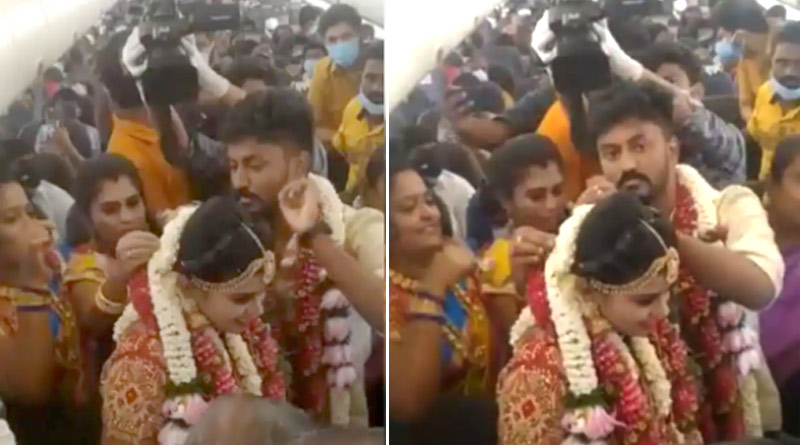 Viral Video: Madurai Couple Gets Married on Plane to Avoid Covid Restrictions | Sangbad Pratidin