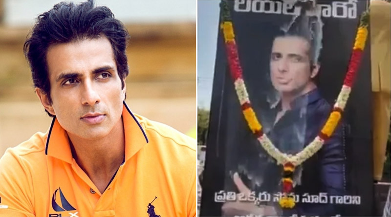 Here is how actor Sonu Sood reacted to video of fans pouring milk on his photos   Sangbad Pratidin
