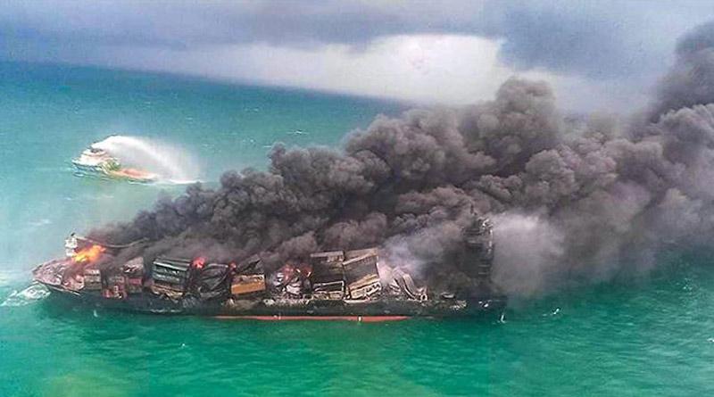 Burning Ship With Hazardous Chemicals Could Cause Acid Rain In Sri Lanka | Sangbad Pratidin