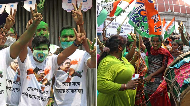 WB Elections Result: TMC celebrates despite COVID-19 situation after Mamata Banerjee's success in Bengal Polls | Sangbad Pratidin
