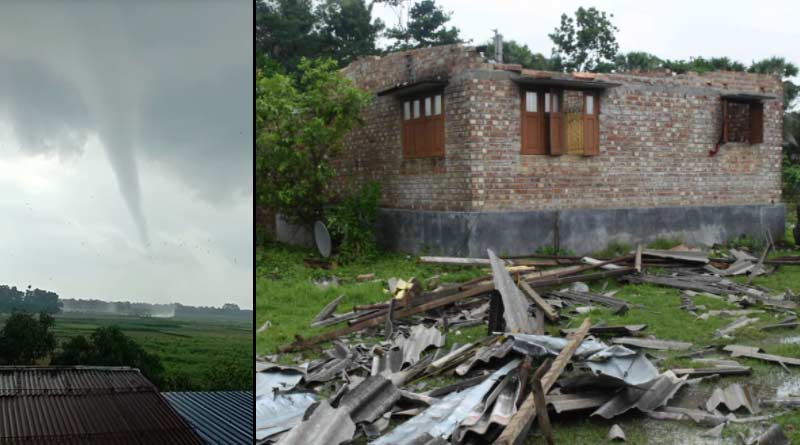 Mini Tornado in Ashoknagar: Many houses damaged due to tornado in Ashoknagar।Sangbad Pratidin