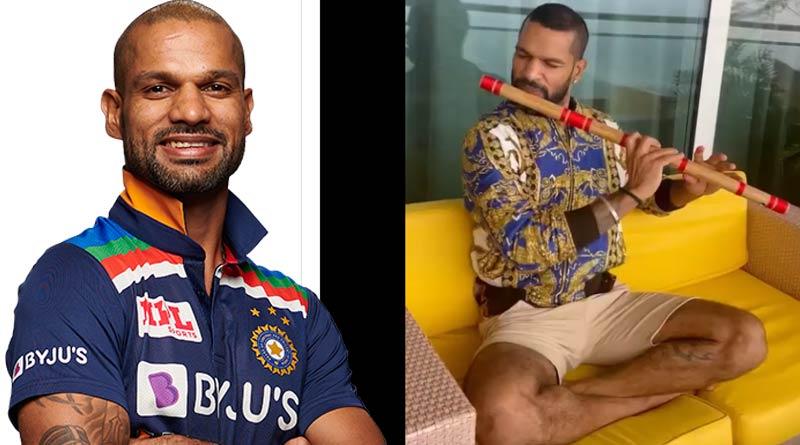 Indian cricketer Shikhar Dhawan Playing Flute, Asks To Guess Song   Sangbad Pratidin