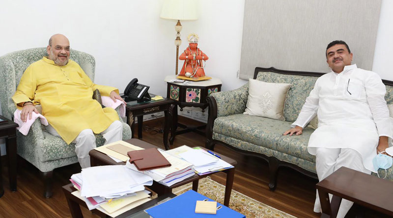 Suvendu Adhikari meets Amit Shah at his residence in Delhi | Sangbad Pratidin