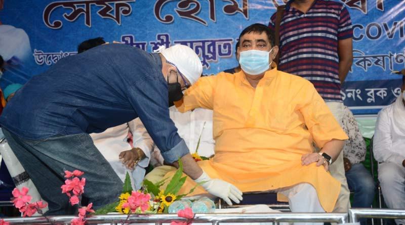 BDO touches Anubrata Mandal's feet in a safe home inauguration programme | Sangbad Pratidin