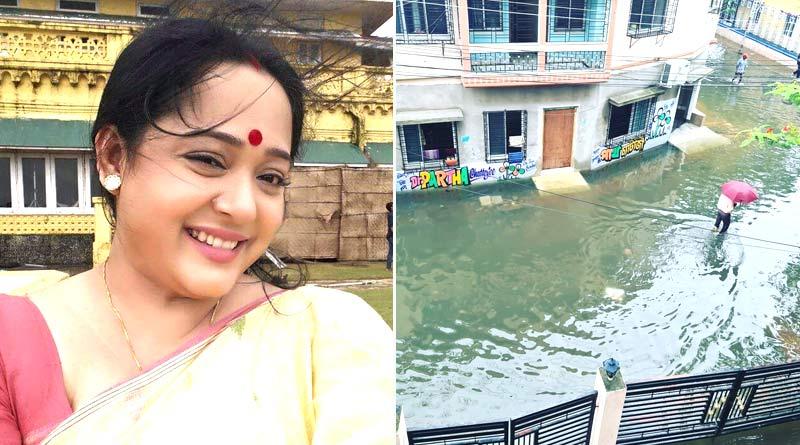 Aparajita Auddy sharply reacted by sharing picture of waterlocked Parnasree area | Sangbad Pratidin