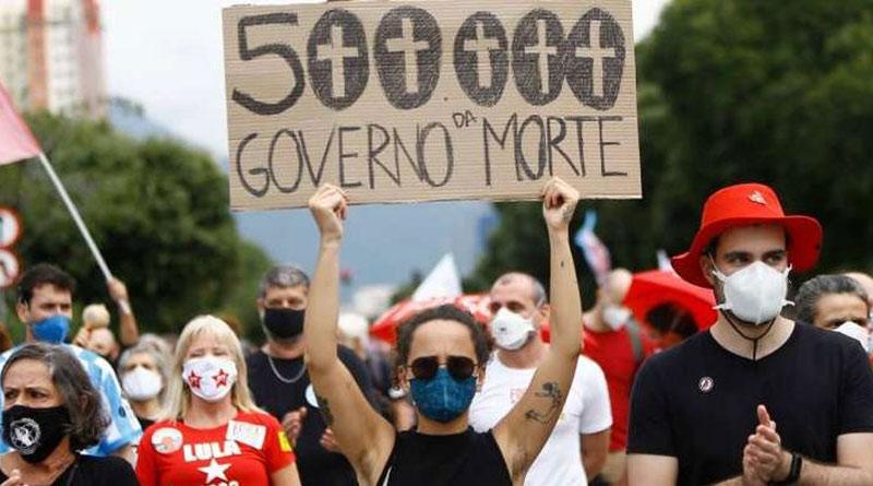 As Brazil tops 500,000 deaths, protests against President Jair Bolsonaro | Sangbad Pratidin