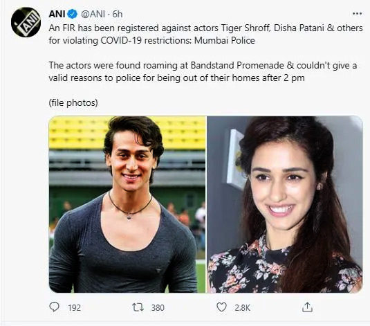 Disha Patani and Tiger Shroff allegedly booked by Mumbai police for not abiding COVID-19 restrictions