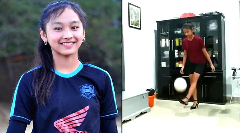 Mizoram girl juggles the football wearing high heels, see video | Sangbad Pratidin