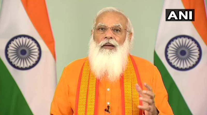 PM Narendra Modi addressed the nation on the occasion of 7th International Yoga Day ।Sangbad Pratidin