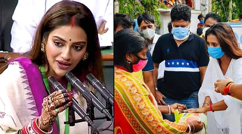 Sayantika Banerjee distributed relief in in Hingalganj Nusrat Jahan's Basirhat Constituency | Sangbad Pratidin