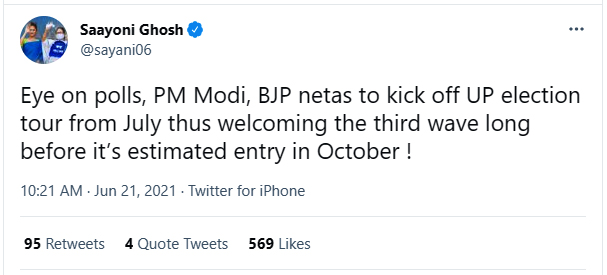 Saayoni Ghosh slams PM Modi and BJP leader by mentioning UP Election 2022